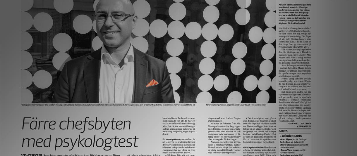 Omino i Svenska dabladet - Färre chefsbyten med psykologtest